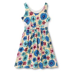 Girls' Floral A-Line Cut-Out Dress