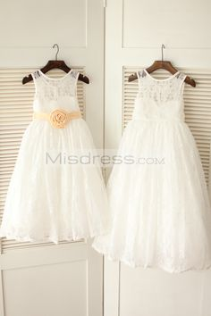 Ivory Lace Flower Girl Dress with Champagne Flower Sash Belt --- Misdress.com