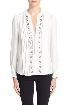 Rebecca Taylor Embroidered Chevron Silk Top available at #Nordstrom
