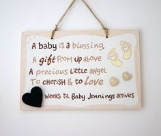 Brother Sister Pregnancy Countdown Sign Plaque Baby Shower Gift Mum To Be Mummy