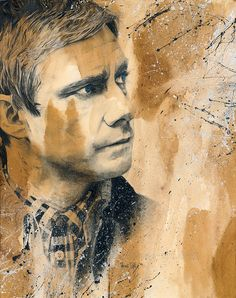 "rdelage: ""Watson Graphite-Drawing; The background is painted with coffee and espresso and the splatter are acrylics; Blue pastel for the eyes and white pastel for highlights; """