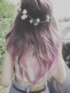 Flower girl with ombré pastel lavender hair.