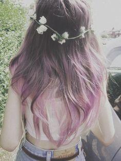 Flower girl with ombré pastel lavender hair.