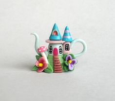 Miniature Whimsical Fairy House on Hill Teapot by ArtisticSpirit