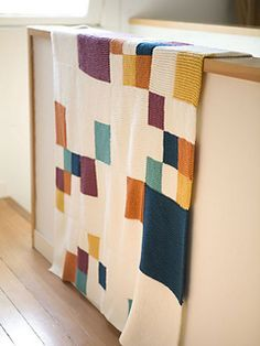 knit baby blanket - garter stitch block  STUNNING use of COLOUR