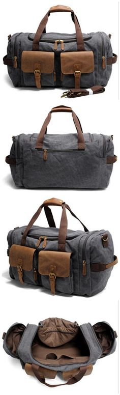 86008bb4967d Waxed Canvas Leather Travel Bag Duffle Bag Weekender Bag • Fabric Lining •  Inside zipper pocket