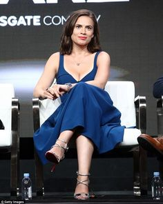 Beauty in blue: Hayley Atwell, 35, looked stunning Friday promoting Howards End at the sum...