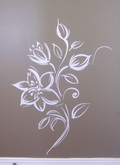 Flower Vinyl wall art  wall mural painted effect by VinylOnTheGo