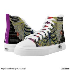 Shop Angel and Bird High-Top Sneakers created by NDGRags. Printed Shoes, Bird Design, Bird Prints, Top Shoes, Converse Chuck Taylor, Designer Shoes, Colorful Backgrounds, Old School, High Tops