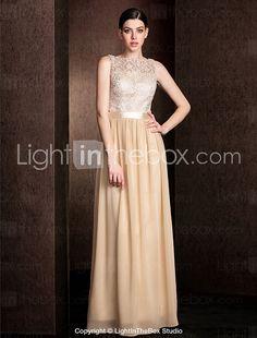 Lanting Bride Floor-length Lace / Georgette Bridesmaid Dress - Mini Me Sheath / Column Bateau Plus Size / Petite with Lace / Sash / Ribbon 2016 - $99.99