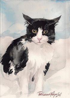 Print of Watercolor Painting Tuxedo Cat Black and White Cat Kitty Kitten By Yuliya Podlinnova Watercolor Cat, Watercolor Paintings, Animal Paintings, Animal Drawings, Cat Sketch, Guache, White Cats, Cat Drawing, Dog Art