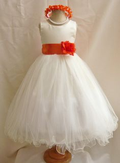 Flower Girl Dresses  IVORY with Orange FD0FL  by NollaCollection