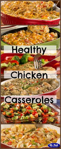 "Healthy Chicken Casseroles - Feel good about dinner when you serve up these healthy chicken recipes! --We made the ""creamy crunchy chicken"" & added our own seasonings & jalapeño & onion. Healthy Chicken Casserole, Easy Casserole Recipes, Healthy Chicken Recipes, Healthy Cooking, Healthy Eating, Cooking Recipes, Recipies Healthy, Chicken Recepies, Healthy Food"