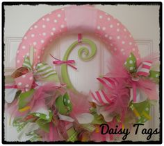 Image detail for -Baby Girl Ribbon Wreath in Pink, Green & Paisley for Hospital Door ...