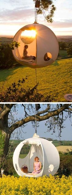 A hanging tent | 22 Weird And Wonderful Features You'll Wish You Had In Your Garden