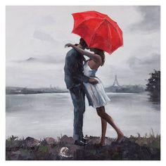 Kissing in the Rain Canvas Print - 30W x 30H in. - OL808