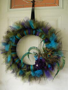 Beautiful my kind of christmas peacock tulle wreath