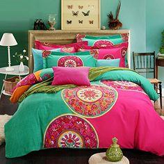 FADFAY Home Textile,Boho Style Bedding Set,Boho Duvet Cover Set,Bohemian Bedding Set,Queen,4Pcs FADFAY http://www.amazon.com/dp/B00MHLJI9O/ref=cm_sw_r_pi_dp_OWgxvb019VR7Z