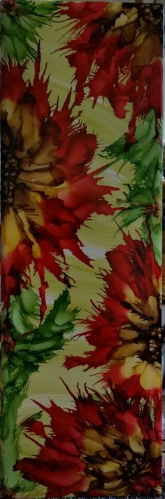 Christmas tile. Flower in alcohol ink by tina