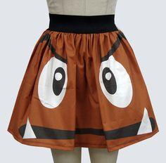 Super Mario Bros Goomba Skirt [pic] - Global Geek News Bad Fashion, Geek Fashion, Fashion Ideas, Fashion 101, Retro Videos, Retro Video Games, Nintendo, Chewbacca, Geeks