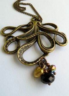 Ollie the Bronze Octopus Pendant by ArtBoxCreations on Etsy, $18.00