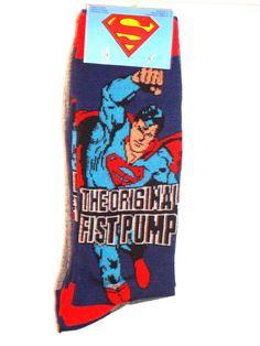 Superman Socks Two Pack THE ORIGINAL FIST PUMP & Gray 2 pair DC Comics  wisesize #DCComicsandWarnerBros #Casual