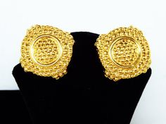 New Listings Daily - Follow Us for UpDates -  Happy New Years Inventory Reduction Sale Description or Style:   Large Chunky Round Earrings - Heavily Textured Dotted Circles - Clip on Earrings Signed Nina Ricci - Retro ... #vintage #jewelry #teamlove #etsyretwt #ecochic #thejewelseeker ➡️ http://etsy.me/2jp8vGW