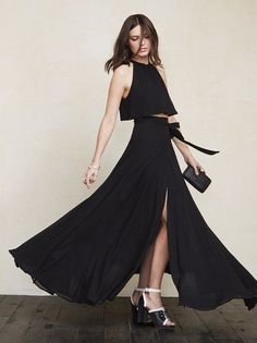 No summer wedding collection would be complete without a two piece - because let's face it, it's hot out there and a dress cut in half makes it a little cooler. https://www.thereformation.com/products/harper-two-piece-black?utm_source=pinterest&utm_medium=organic&utm_campaign=PinterestOwnedPins
