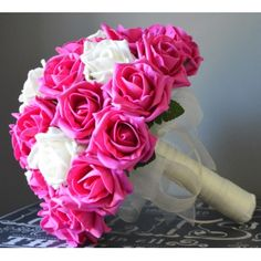 BRIDES BOUQUET - Hot pink rose bridal posy - with white or ivory rose and your choice of embellishments