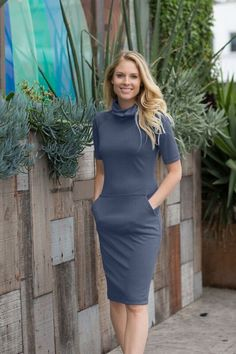 Dana Fitted Sheath Navy Dress