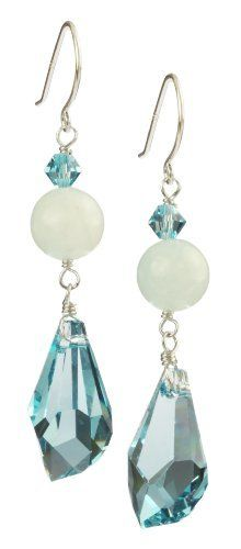 Swarovski Elements Blue Topaz Color Bicone and Faceted with Blue Chalcedony and Sterling Silver Earwire Drop Earrings Amazon Curated Collection. $37.00. Made in United States