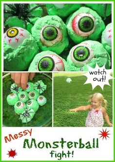 A spooky snowball fight with messy monster balls!   This would be so much fun for a kids Halloween party or play date! (or anytime!)