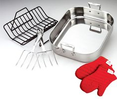 All-Clad Stainless Large Roaster with Rack, Turkey Forks and Mitts