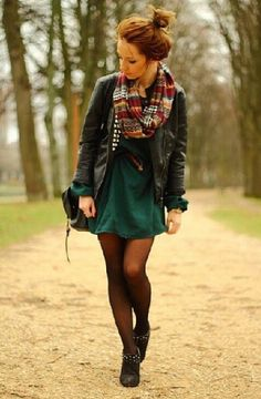 fall fashions, fall looks, fall outfits, green dress, leather jackets, tight, fall styles, scarv, fall dresses
