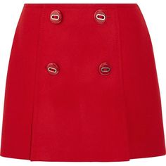 Prada Button-embellished wool mini skirt ($720) via Polyvore featuring skirts, mini skirts, red wool skirt, prada, mini skirt, woolen skirt and front slit skirt