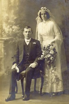 Wedding photo, 14 Oct 1914.