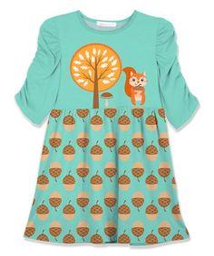 Look what I found on #zulily! Turquoise & Orange Squirrel & Pinecone Shift Dress - Toddler & Girls #zulilyfinds