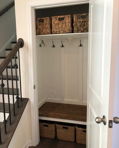 My weekend project! I hated my closet so much. My weekend project! I hated my closet so much. Before and after pictures included. hallway closet o. Front Closet, Hallway Closet, Closet To Mudroom, Laundry Closet, Small Coat Closet, Closet Bench, Closet Office, Shoe Closet, Entryway Stairs