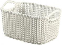 Košík Curver® KNIT 3L, krémový, 25x18x14 cm Basket Shelves, Storage Baskets, Plastik Box, Beige Top, Bassinet, Off White, Modern, Knitting, Stuff To Buy