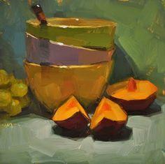 """Plumtastic - SOLD"" - Original Fine Art for Sale - © Carol Marine"
