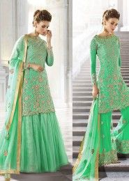 Wedding Wear Georgette Mint Embroidered Work Anarkali Suit