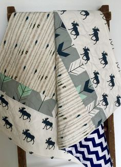 Baby Quilt Boy Moose Bow and Arrow WoodlandBirch Forest Chevron Navy Mint Gray ModernCrib Bedding Baby Bedding Children (149.00 USD) by CoolSpool
