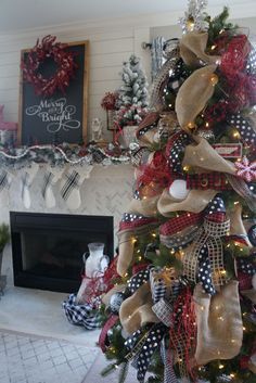 Buffalo check Christmas decor living room tree and mantle red white and black christmas how to decorate a tree and mantle for the holidays