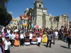 A typical parade in the zocalo of Oaxaca, Mexico.