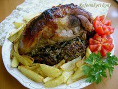 Csülök erdei gombás töltelékkel Cheesesteak, Hamburger, Pork, Beef, Ethnic Recipes, Drinks, Kale Stir Fry, Meat, Drinking