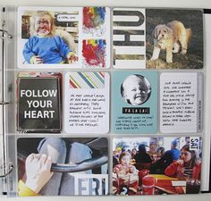 love this page -- circle photo on journaling card, days of the week on the photos, photos of artwork & the behind the scenes mess!  // design editor