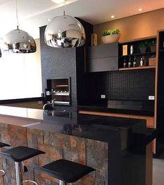 Diy Kitchen Decor, Cute Kitchen, Kitchen Tiles, Interior Design Kitchen, New Kitchen, Rustic Kitchen, Floors Kitchen, Black Countertops, Black Backsplash