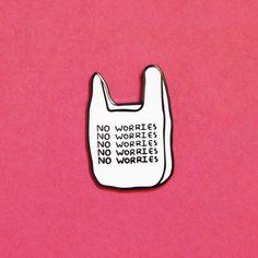 No Worries Enamel Pin Cute Sticker, Bag Pins, Jacket Pins, Cool Pins, Doja Cat, Pin And Patches, Hard Enamel Pin, Pin Badges, Lapel Pins