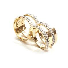 Fabri Infinity Double Loop Diamond Gold Ring