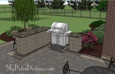 Rear Courtyard Paver Patio Design with Pergola, Fireplace and Bar | 875 sq ft | Download Installation Plan, How-to's and Material List @Mypatiodesign.com